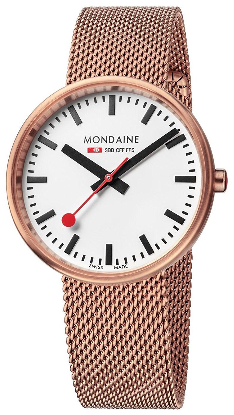 Mondaine 99999 Dameklokke A763.30362.22SBM Hvit/Rose-gulltonet stål - Mondaine