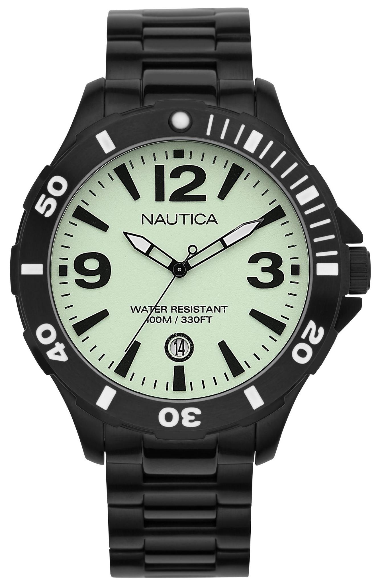 Nautica BFD 101 Herreklokke A17572G Grønn/Stål Ø45 mm - Nautica