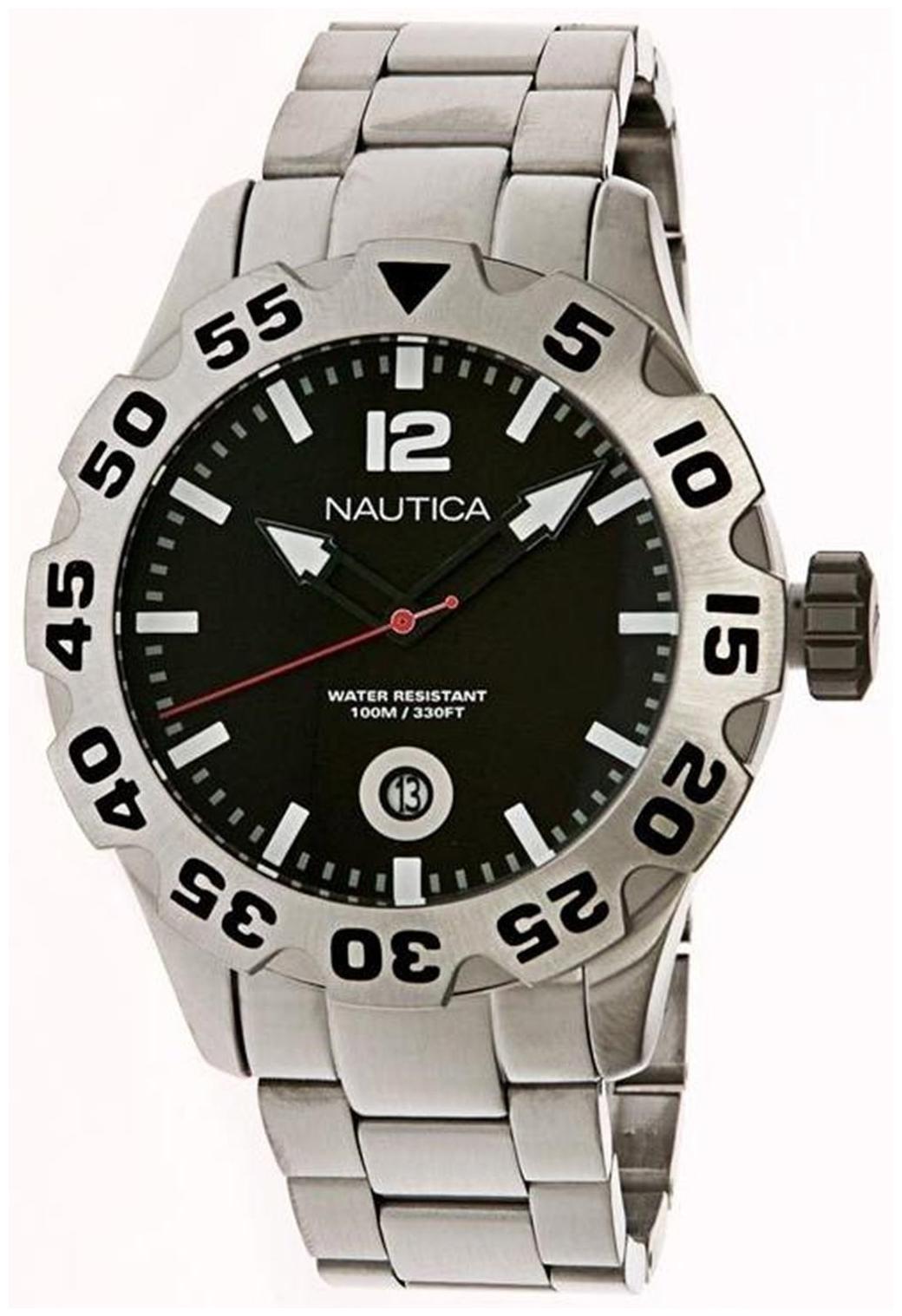 Nautica BFD 100 Herreklokke N17549G Sort/Stål Ø52 mm - Nautica