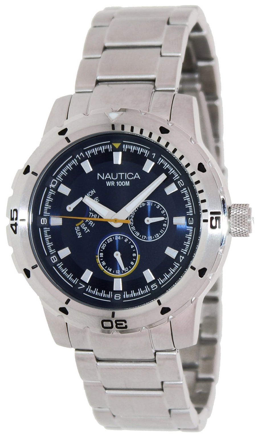 Nautica Multifunction Herreklokke N18621G Blå/Stål Ø47 mm - Nautica
