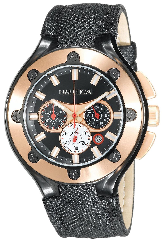 Nautica NCS Herreklokke N28507G Sort/Lær Ø46 mm - Nautica