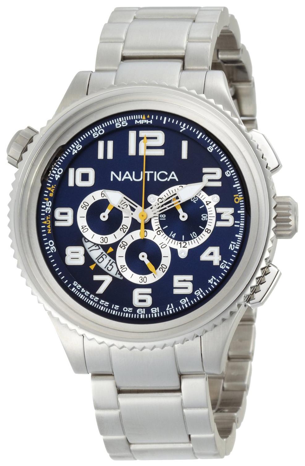 Nautica OCN 46 Herreklokke N29524G Blå/Stål Ø45 mm - Nautica