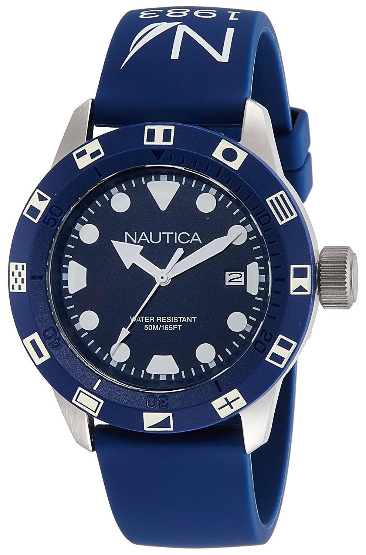 Nautica Analog Herreklokke NAI09511G Blå/Gummi Ø44 mm - Nautica