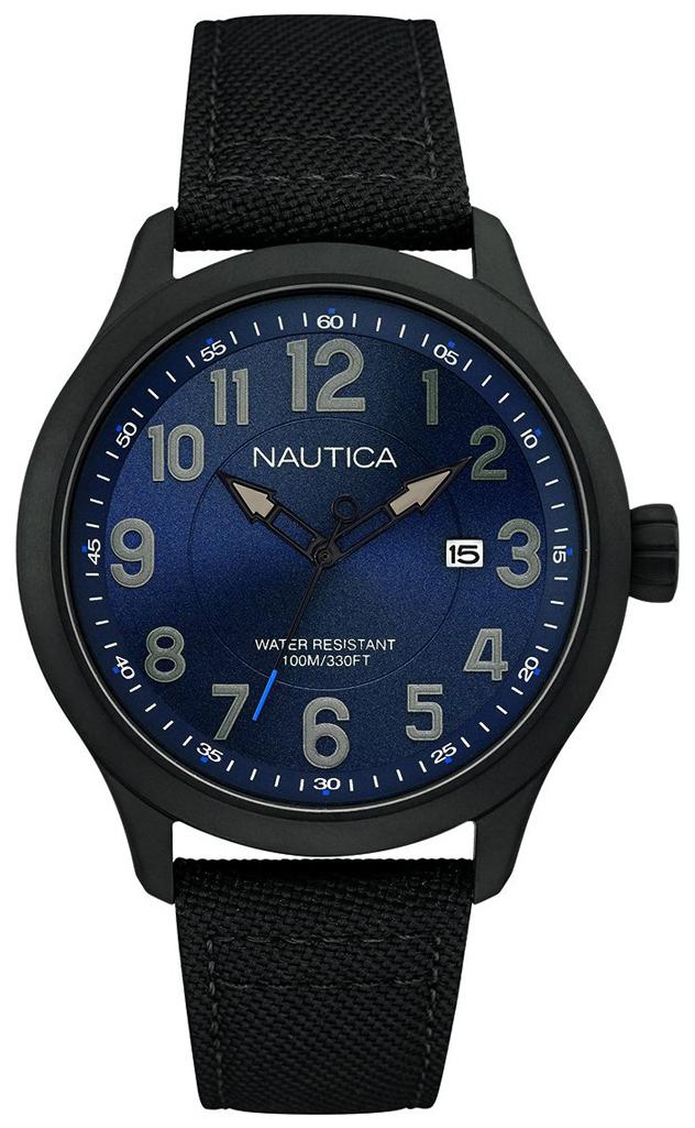 Nautica Analog Herreklokke NAI11515G Blå/Lær Ø44 mm - Nautica