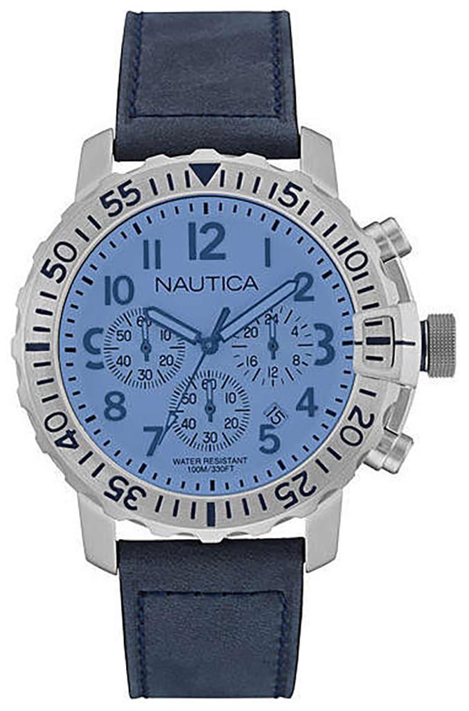 Nautica Chronograph Herreklokke NAI19534G Blå/Lær Ø48 mm - Nautica