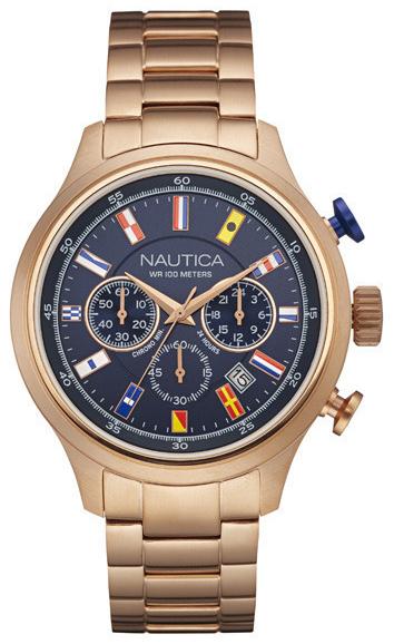 Nautica Chronograph Herreklokke NAI21507G Blå/Rose-gulltonet stål - Nautica