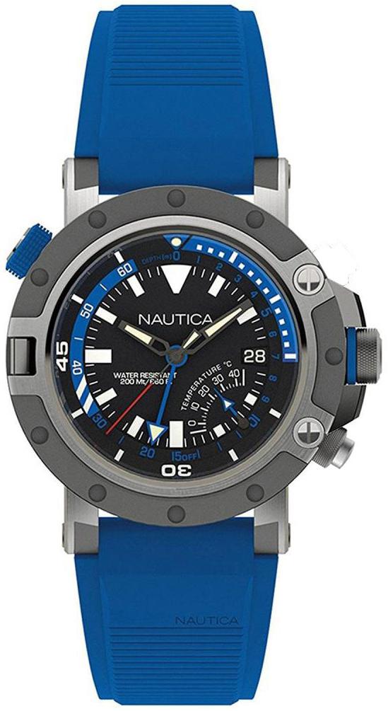 Nautica Multifunction Herreklokke NAPPRH001 Sort/Gummi Ø48 mm - Nautica