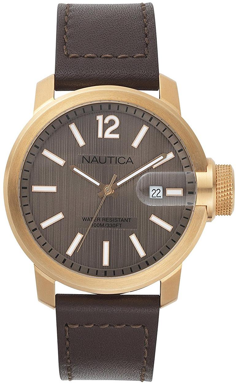 Nautica Dress Herreklokke NAPSYD013 Brun/Lær Ø44 mm - Nautica