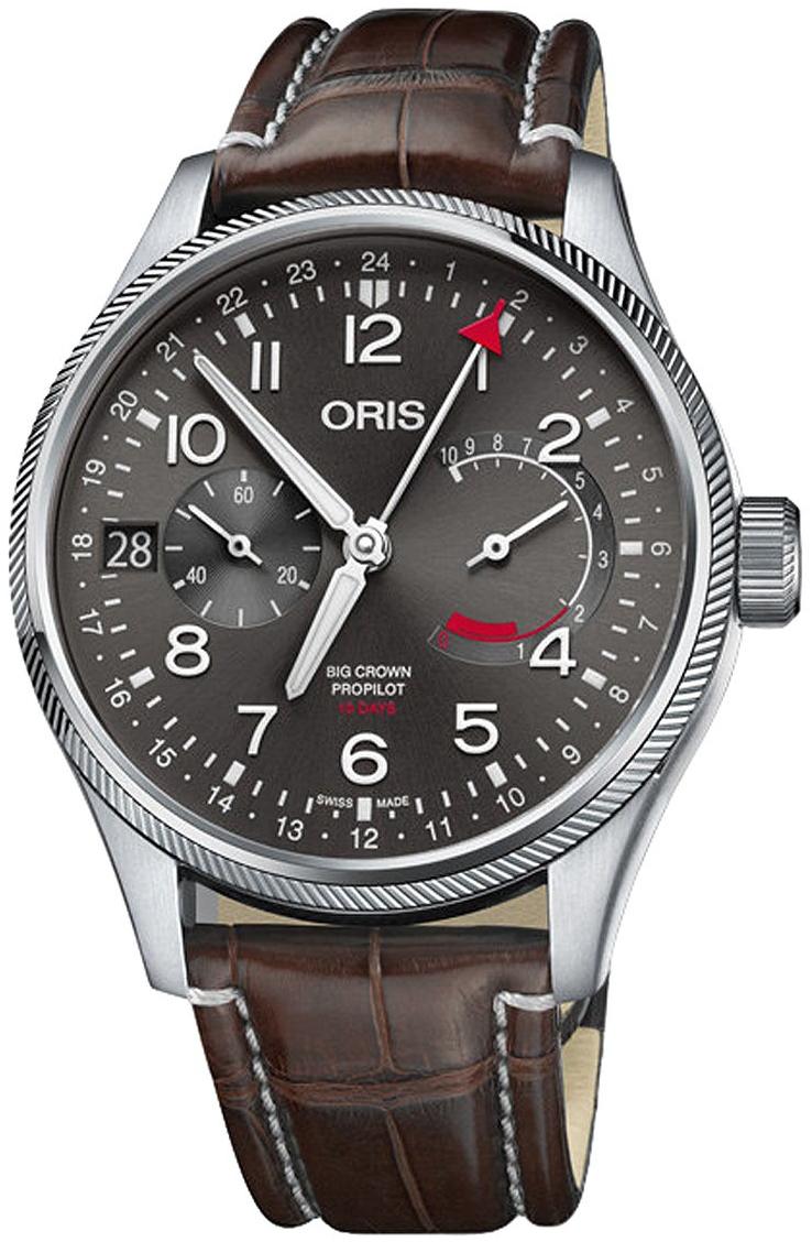Oris Aviation Herreklokke 01 114 7746 4063-Set 1 22 72FC Grå/Lær - Oris