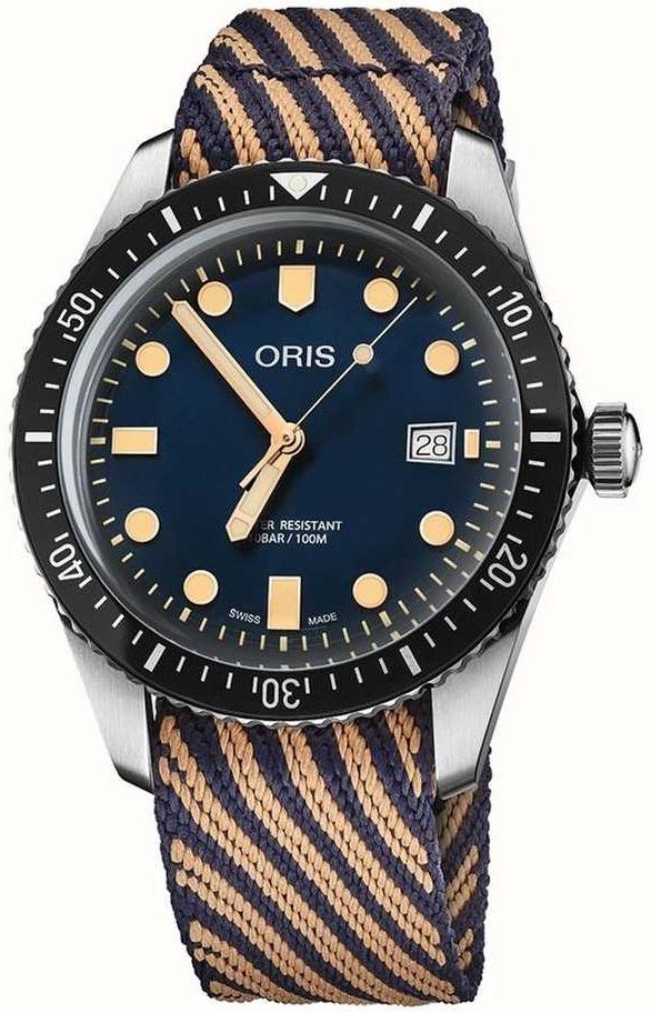 Oris Diving Herreklokke 01 733 7720 4035-07 5 21 13 Blå/Tekstil Ø42 - Oris