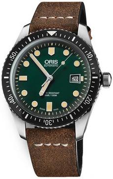 Oris Diving Herreklokke 01 733 7720 4057-07 5 21 45 Grønn/Lær Ø42 - Oris