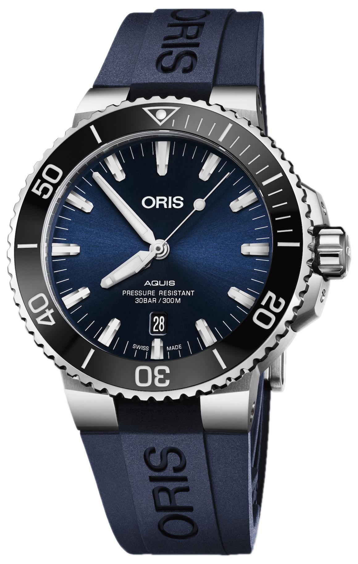 Oris Diving Herreklokke 01 733 7730 4135-07 4 24 65EB Blå/Gummi - Oris
