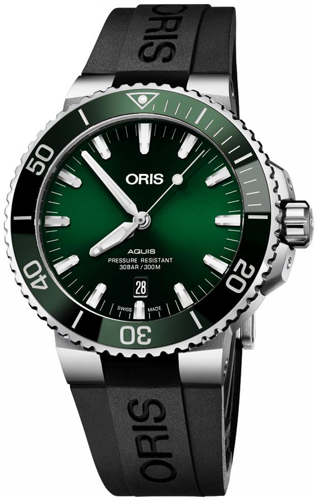 Oris Diving Herreklokke 01 733 7730 4157-07 4 24 64EB Grønn/Gummi - Oris