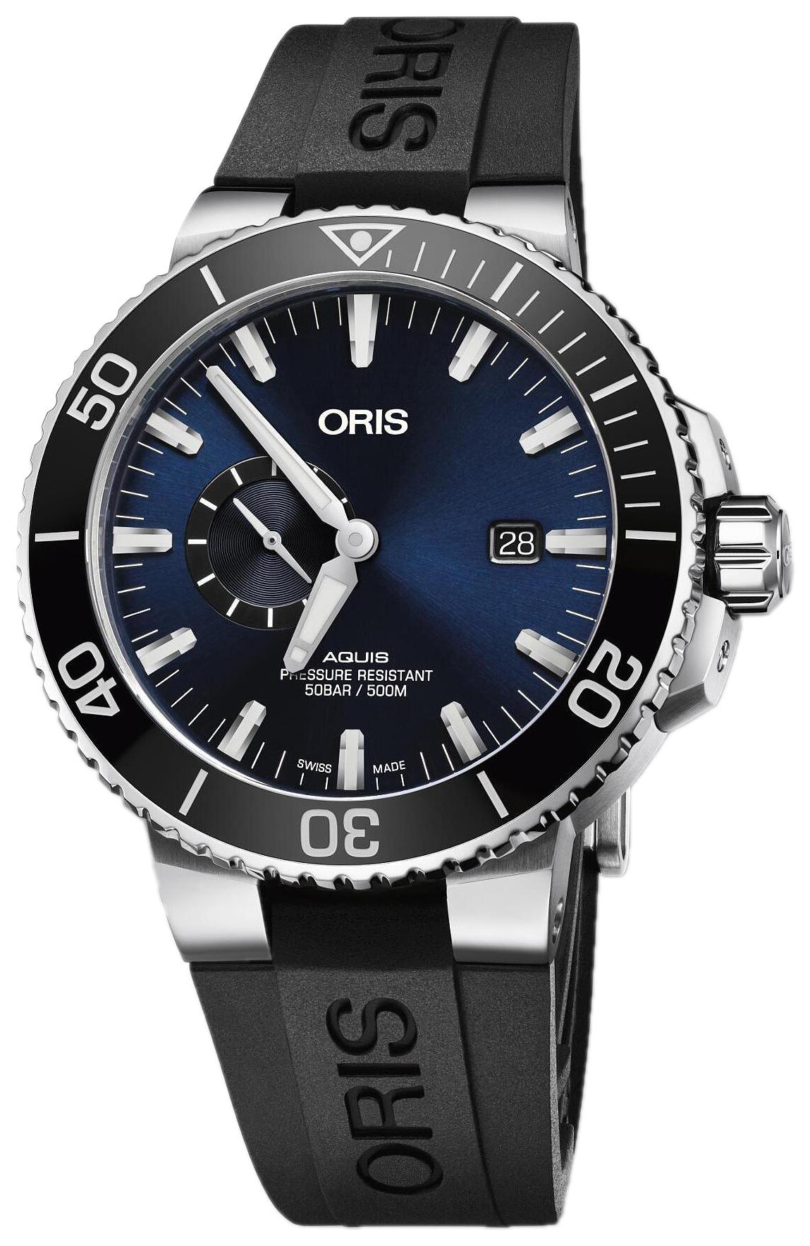 Oris Diving Herreklokke 01 743 7733 4135-07 4 24 64EB Blå/Gummi - Oris