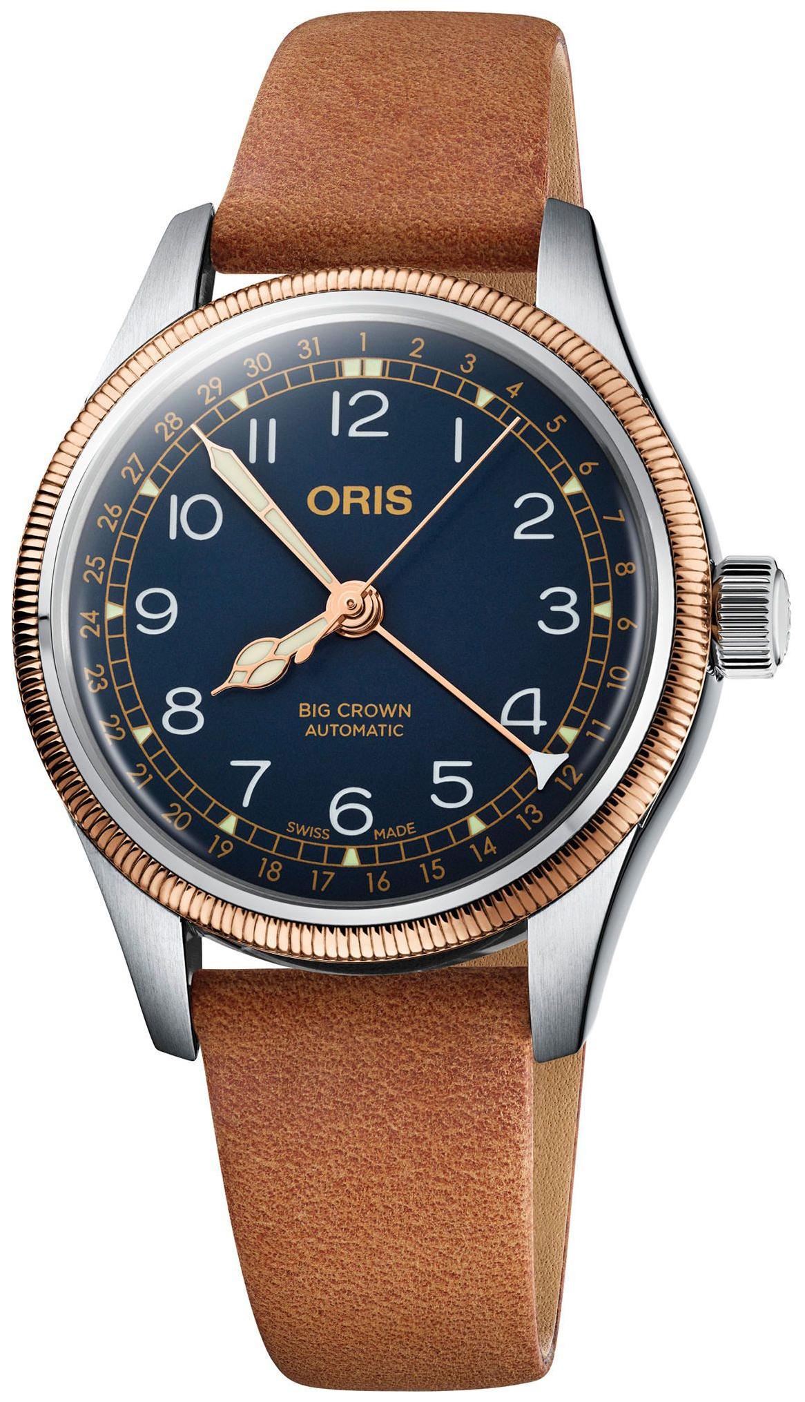 Oris Aviation Dameklokke 01 754 7749 4365-07 5 17 66 Blå/Lær Ø36 mm - Oris