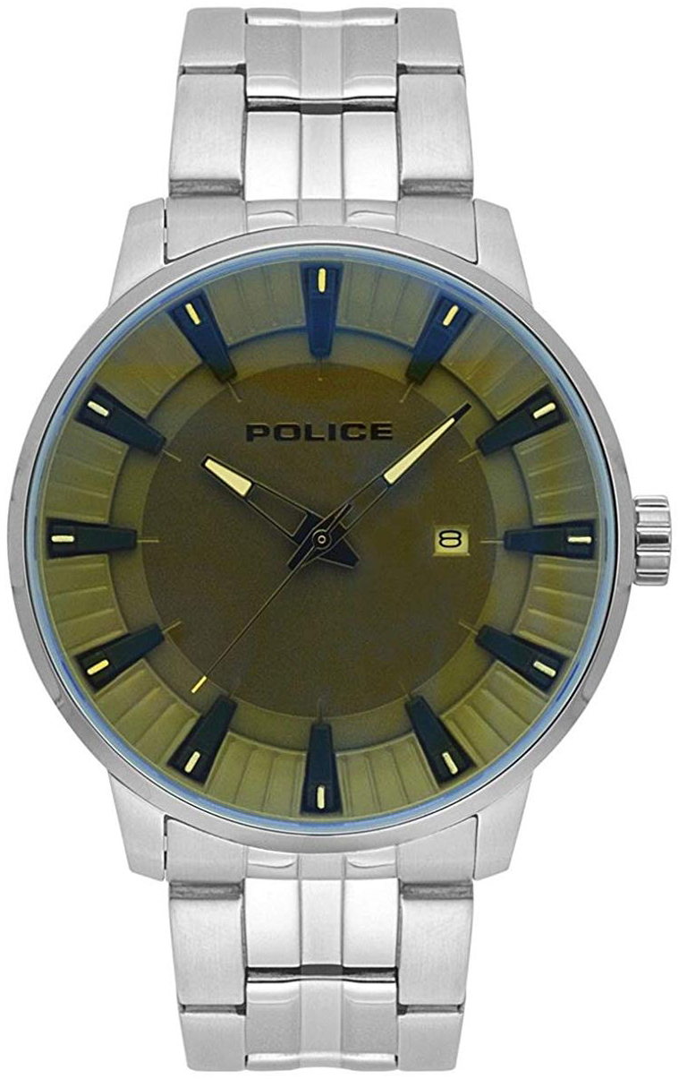 Police Flint Herreklokke PL15391JS/61M Grønn/Stål Ø44 mm - Police