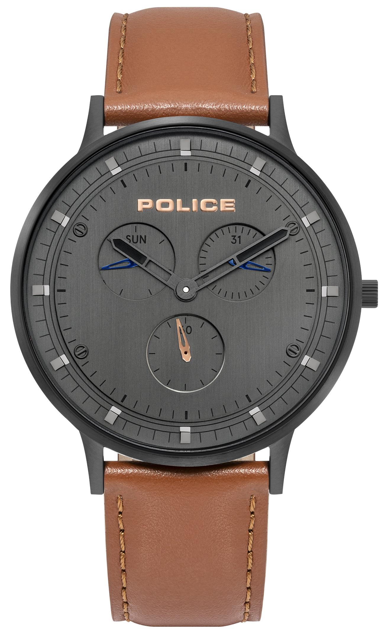 Police 99999 Herreklokke PL15968JSB/39 Grå/Lær Ø42 mm - Police