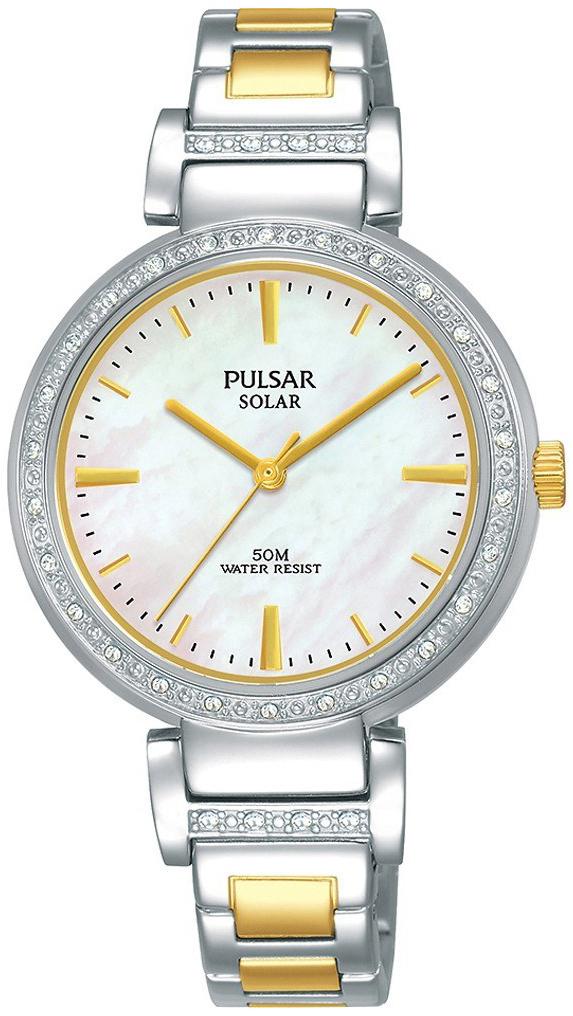 Pulsar Solar Dameklokke PY5049X1 Hvit/Gulltonet stål Ø32 mm - Pulsar