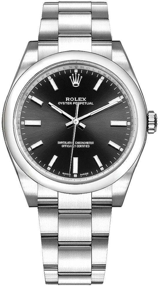 Rolex Oyster Perpetual 34 Dameklokke 114200-0023 Sort/Stål Ø34 mm - Rolex