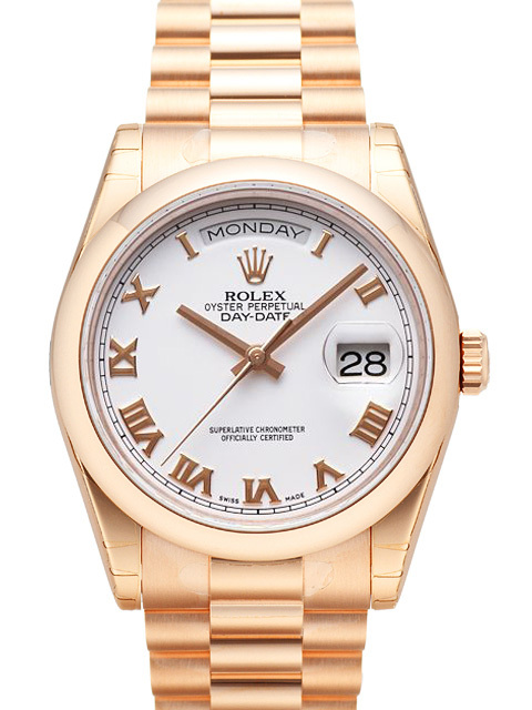 Rolex Day-Date 36 Herreklokke 118205F-0016 Hvit/18 karat rosé gull - Rolex