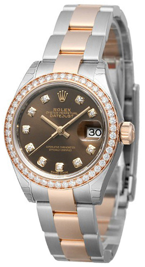 Rolex Lady-Datejust 28 Dameklokke 279381RBR-0004 Brun/18 karat rosé - Rolex