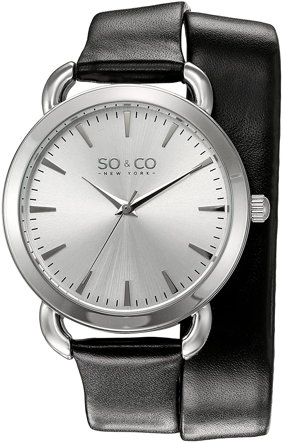 So & Co New York SoHo Dameklokke 5086.1 Sølvfarget/Lær Ø36 mm - So & Co New York