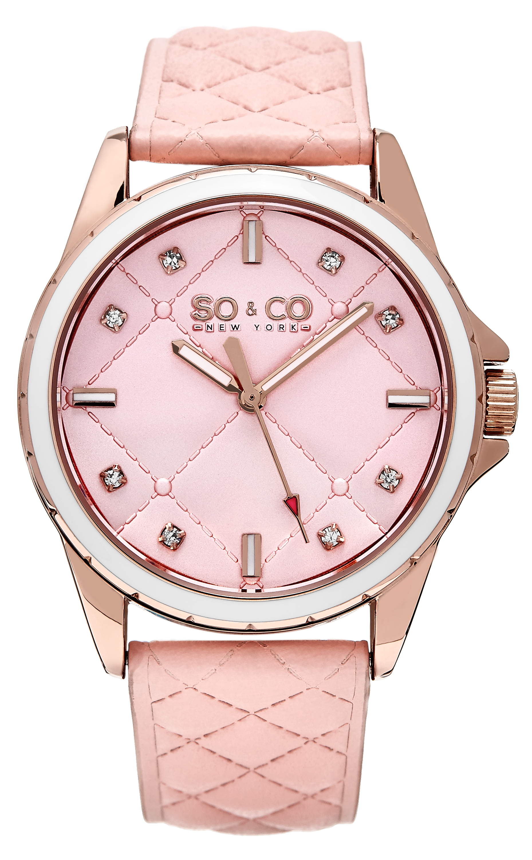So & Co New York SoHo Dameklokke 5201.4 Rosa/Lær Ø38 mm - So & Co New York