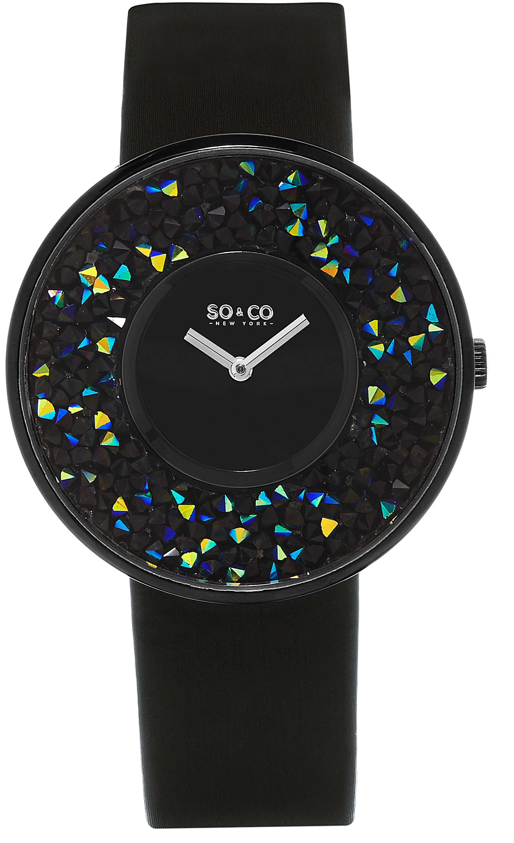 So & Co New York SoHo Dameklokke 5223.4 Sort/Sateng Ø40 mm - So & Co New York