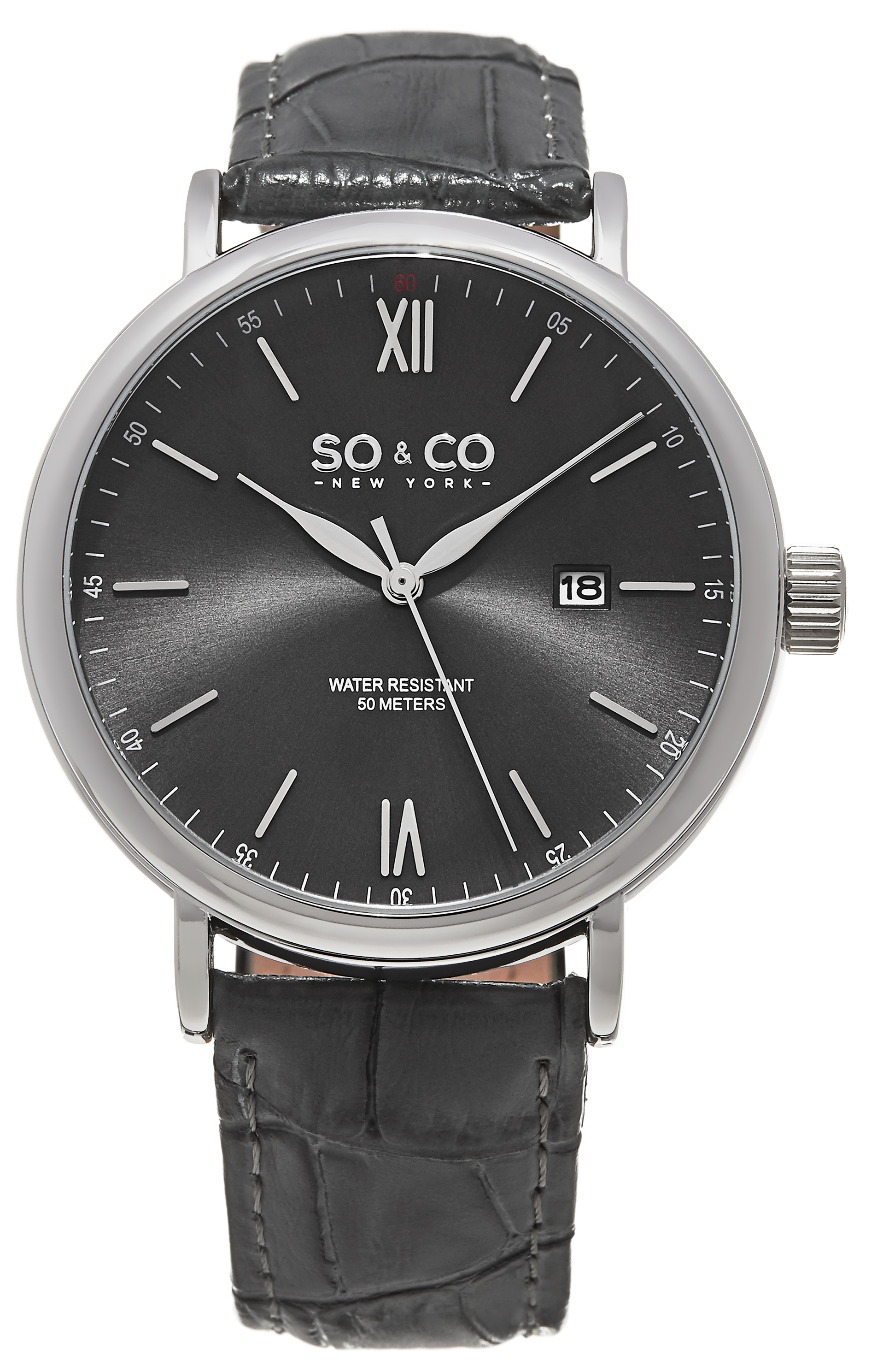 So & Co New York Madison Herreklokke 5266L.2 Grå/Lær Ø42 mm - So & Co New York