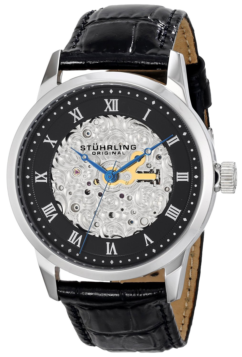 Stührling Original Herreklokke 585.02 Sort/Lær Ø42 mm - Stührling Original