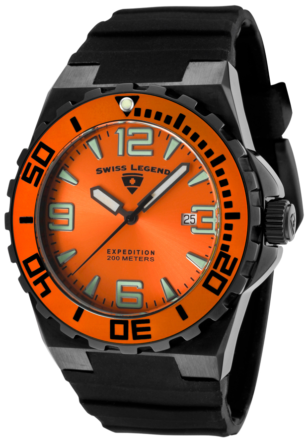 Swiss Legend Expedition Herreklokke SL-10008-BB-06-OB Orange/Gummi - Swiss Legend