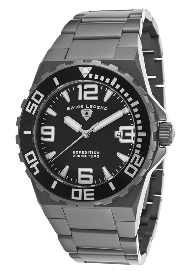 Swiss Legend Expedition Herreklokke SL-10008-GM-11 Sort/Stål Ø46 mm - Swiss Legend