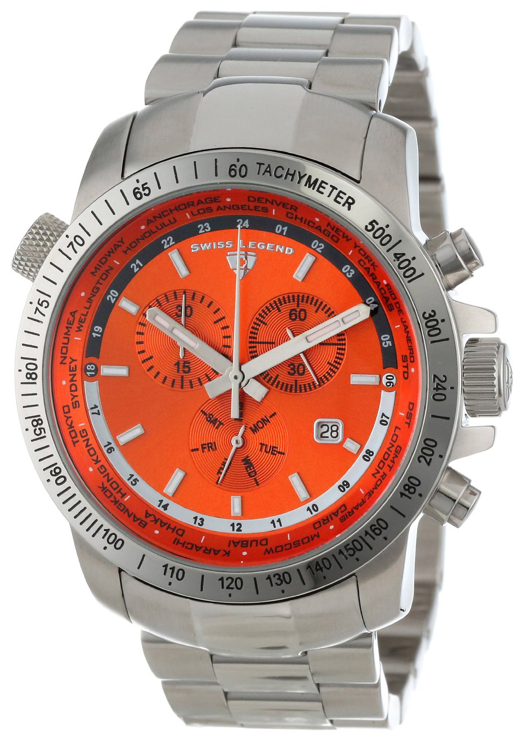 Swiss Legend 99999 Herreklokke SL-10013-66 Orange/Stål Ø44 mm - Swiss Legend