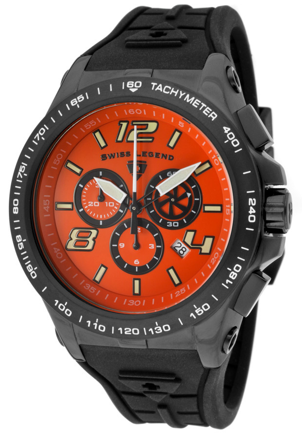 Swiss Legend Sprint Racer Herreklokke SL-10040-BB-06 Orange/Gummi - Swiss Legend