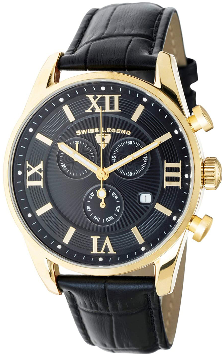 Swiss Legend Belleza Herreklokke SL-22011-YG-01-BLK Sort/Lær Ø43 mm - Swiss Legend