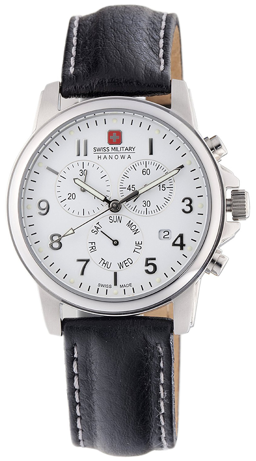 Swiss Military Sport Herreklokke 06-4142-04-001 Hvit/Lær Ø39 mm - Swiss Military
