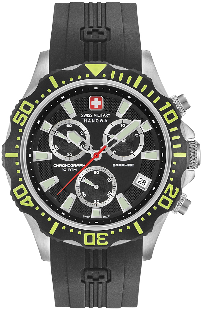 Swiss Military Sport Herreklokke 06-4305.04.007.06 Sort/Gummi Ø44 mm - Swiss Military