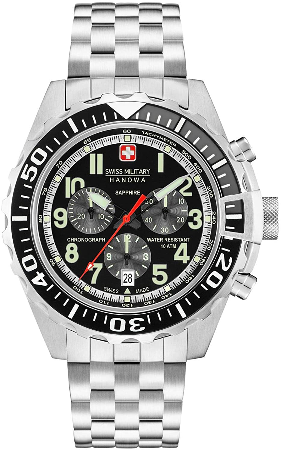 Swiss Military Hanowa Herreklokke 06-5304.04.007 Sort/Stål Ø45 mm - Swiss Military