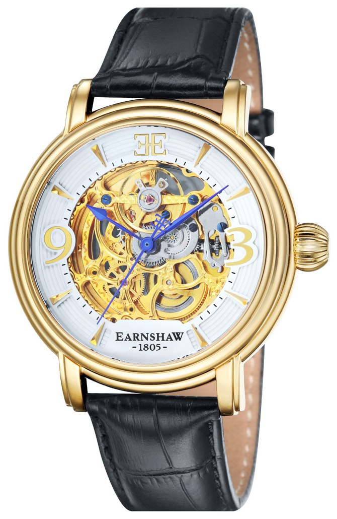 Thomas Earnshaw Longcase Herreklokke ES-8011-04 Hvit/Lær Ø48 mm - Thomas Earnshaw