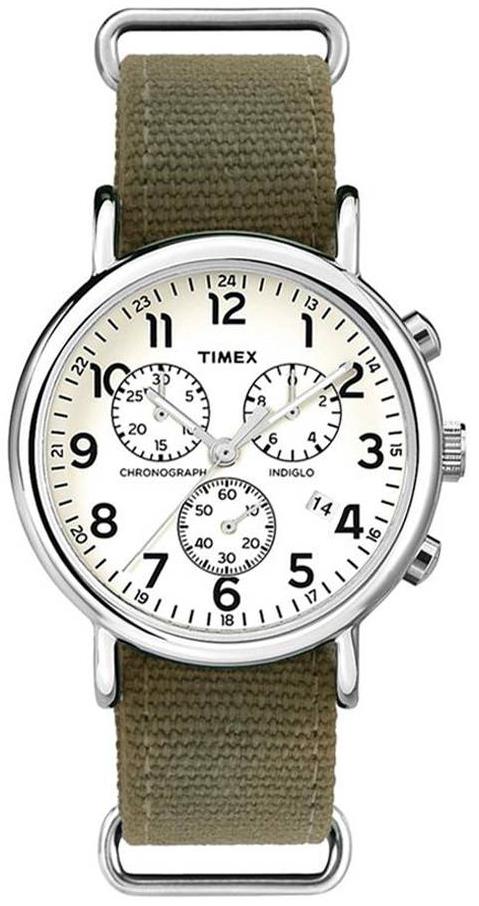 Timex Weekender Herreklokke ABT002 Hvit/Lær Ø40 mm - Timex