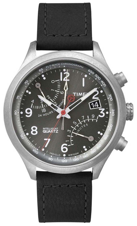 Timex Intelligent Herreklokke T2P509 Grå/Lær Ø43 mm - Timex