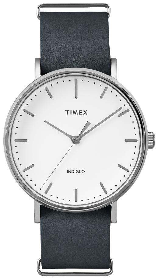 Timex Weekender Herreklokke TW2P91300 Hvit/Lær Ø41 mm - Timex