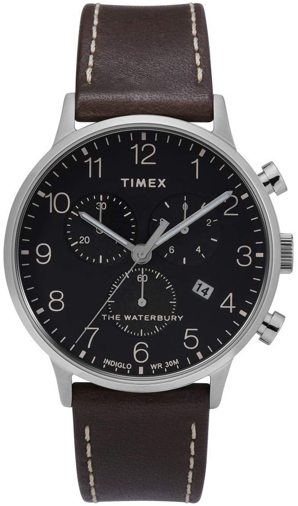 Timex 99999 Herreklokke TW2T28200 Sort/Lær Ø40 mm - Timex