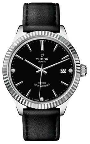 Tudor Style Herreklokke 12510-0026 Sort/Lær Ø38 mm - Tudor