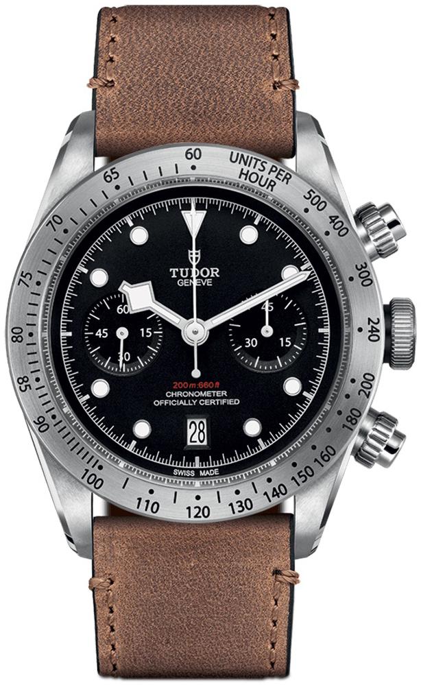 Tudor Black Bay Chrono Herreklokke 79350-0002 Sort/Lær Ø41 mm - Tudor