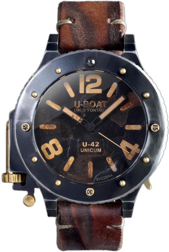 U-Boat U-42 Herreklokke 8088 Sort/Lær Ø53 mm - U-Boat