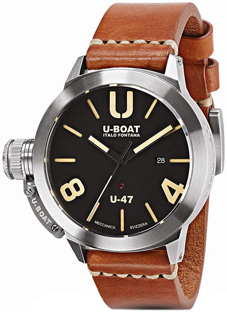 U-Boat Classico Herreklokke 8105 Sort/Lær Ø47 mm - U-Boat
