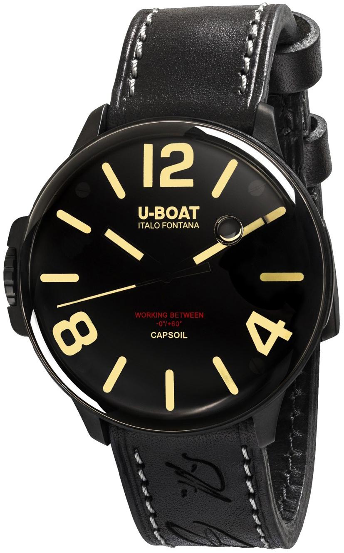 U-Boat Capsoil Herreklokke 8108 Sort/Lær Ø45 mm - U-Boat