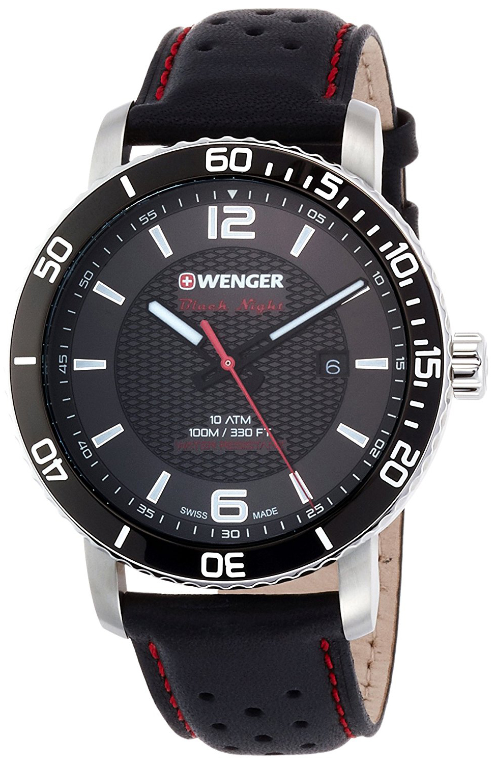 Wenger Roadster 01.1841.101 Sort/Lær Ø44 mm - Wenger