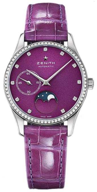 Zenith Elite Ultra Thin Dameklokke 16.2310.692-92.C750 Lilla/Lær - Zenith